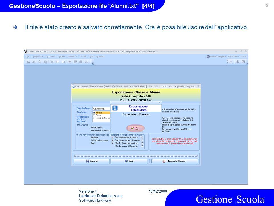 GestioneScuola – Esportazione file Alunni.txt [4/4]